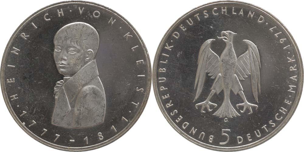 Deutschland : 5 DM Kleist  1977 vz/Stgl.