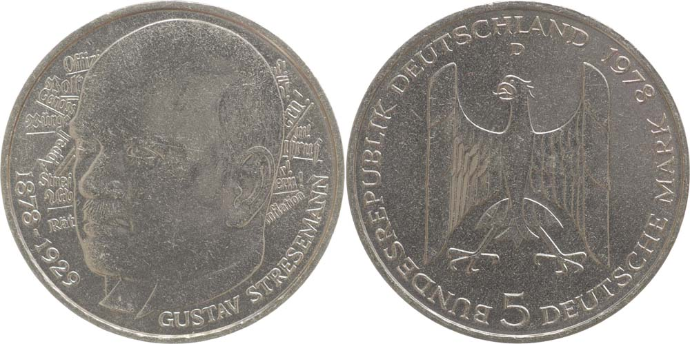 Deutschland : 5 DM Stresemann  1978 vz/Stgl.