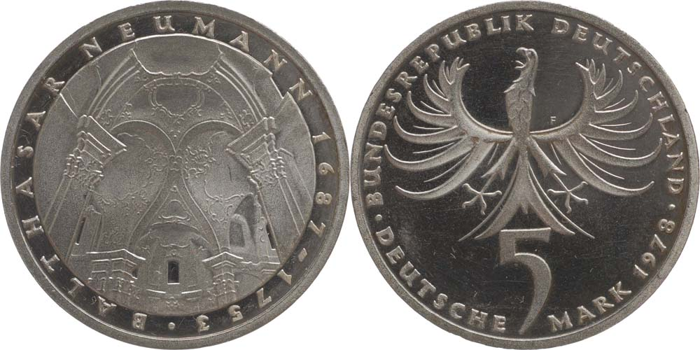 Deutschland : 5 DM Neumann  1978 vz/Stgl.
