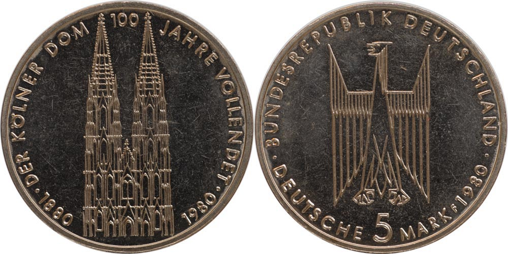 Übersicht:Deutschland : 5 DM Kölner Dom  1980 vz/Stgl.