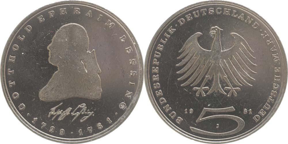 Übersicht:Deutschland : 5 DM Lessing  1981 vz/Stgl.