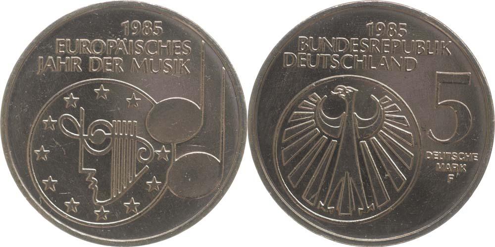 Deutschland : 5 DM Jahr der Musik  1985 vz/Stgl.