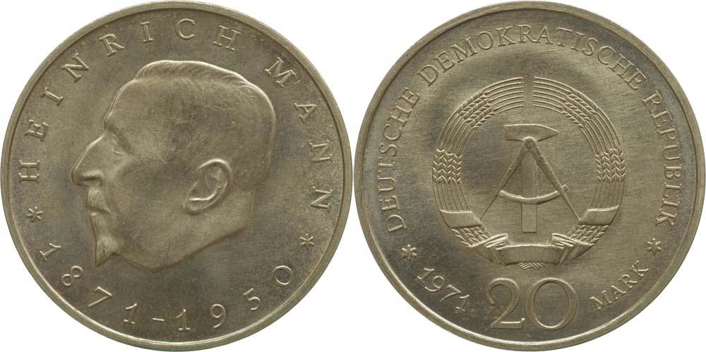 Übersicht:DDR : 20 Mark Heinrich Mann  1971 vz/Stgl.