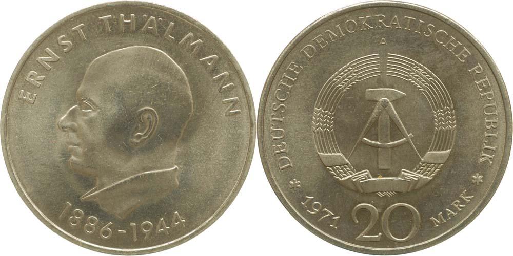 Ddr 20 Mark Ernst Thälmann 1971 Kuni Vz 255 Euro