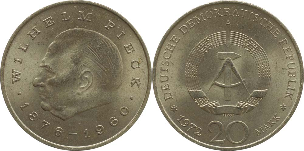 DDR : 20 Mark Wilhelm Pieck  1972 vz.
