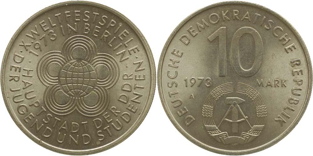 Lieferumfang:DDR : 10 Mark Weltjugendspiele  1973 vz/Stgl.