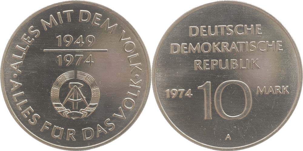 Lieferumfang:DDR : 10 Mark 25 Jahre DDR  1974 vz.