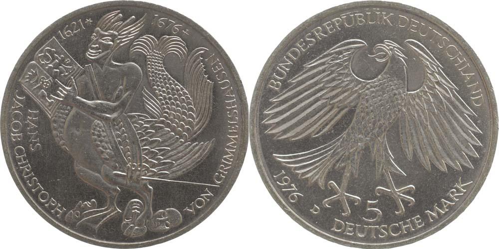 Deutschland : 5 DM Grimmelshausen  1976 vz/Stgl.