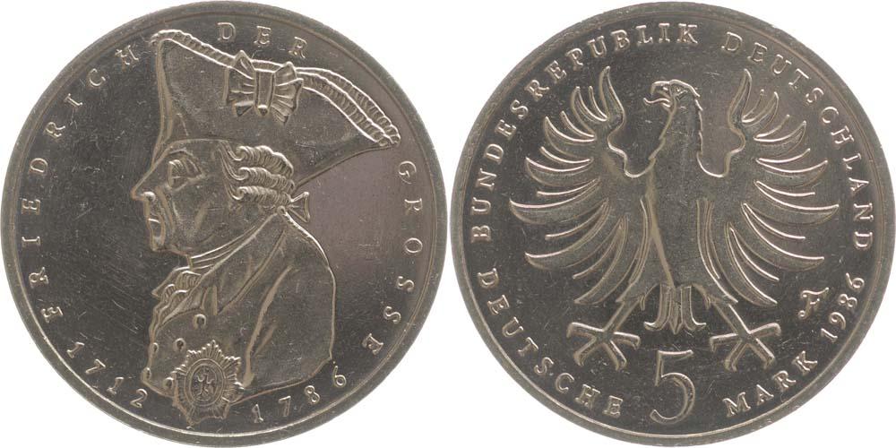 Deutschland 5 Dm Friedrich Der Grosse 1986 F Ku Ni Vz Stgl 6 Euro