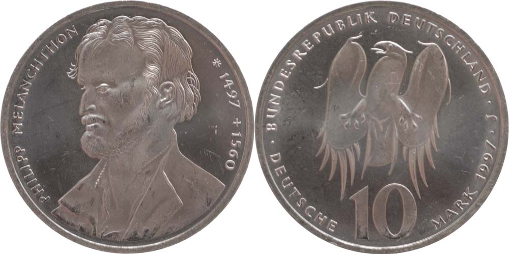 Übersicht:Deutschland : 10 DM Melanchthon  1997 vz/Stgl.