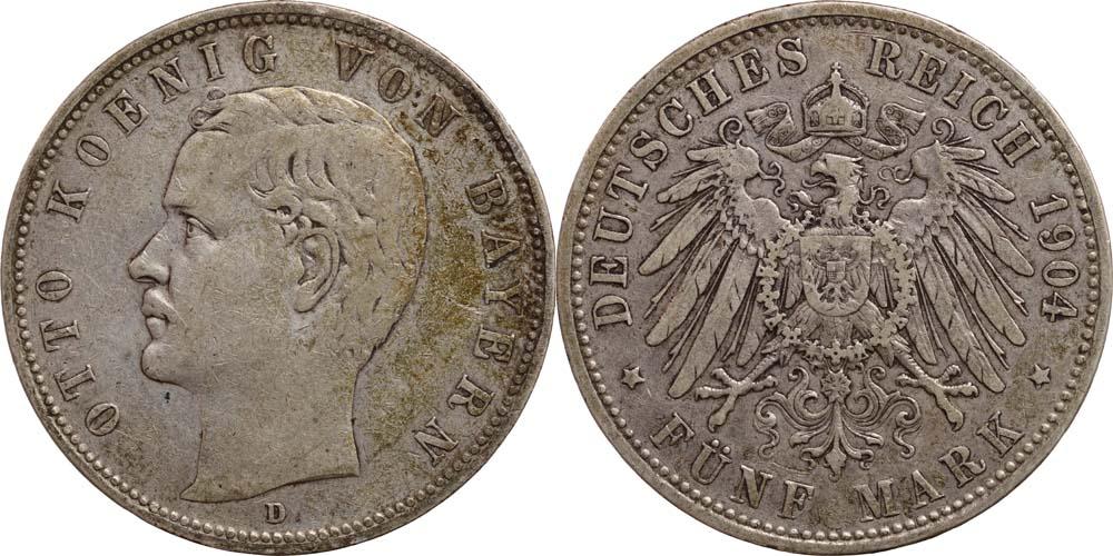 Deutschland : 5 Mark Otto  1904 ss.