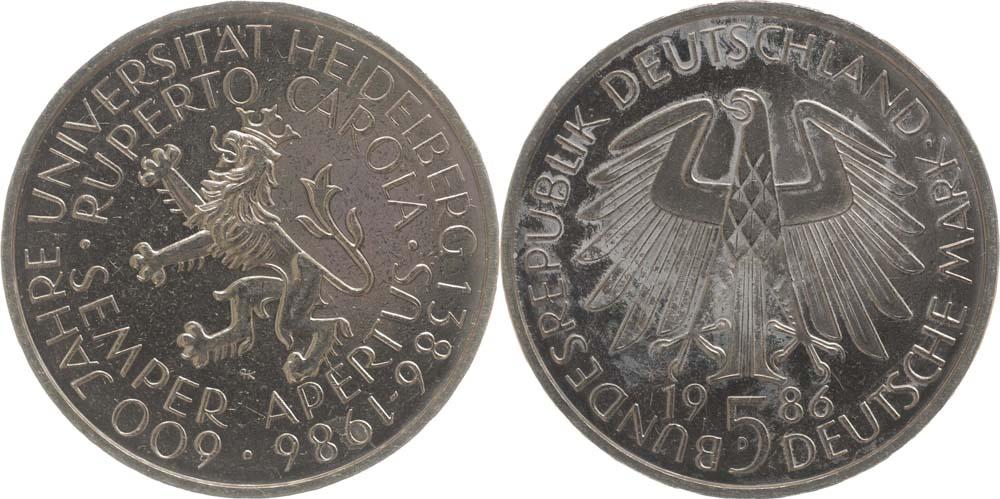 Übersicht:Deutschland : 5 DM Heidelberg  1986 vz/Stgl.