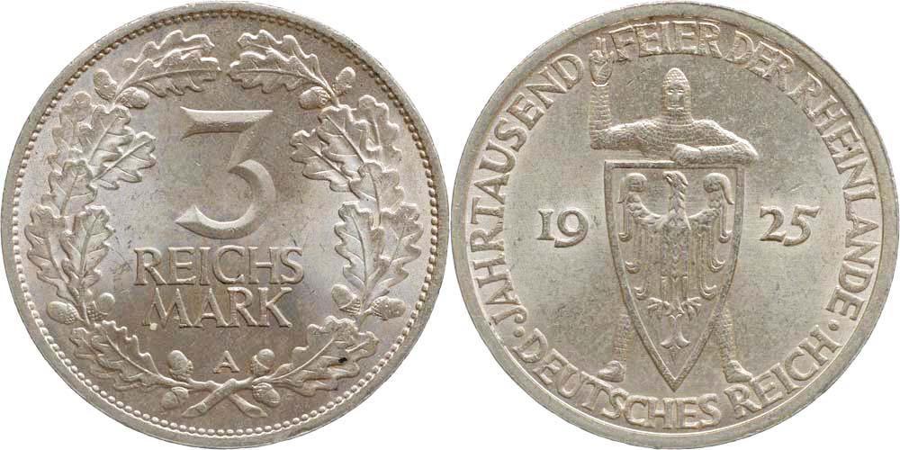 Deutschland : 3 Reichsmark Rheinlande  1925 vz/Stgl.