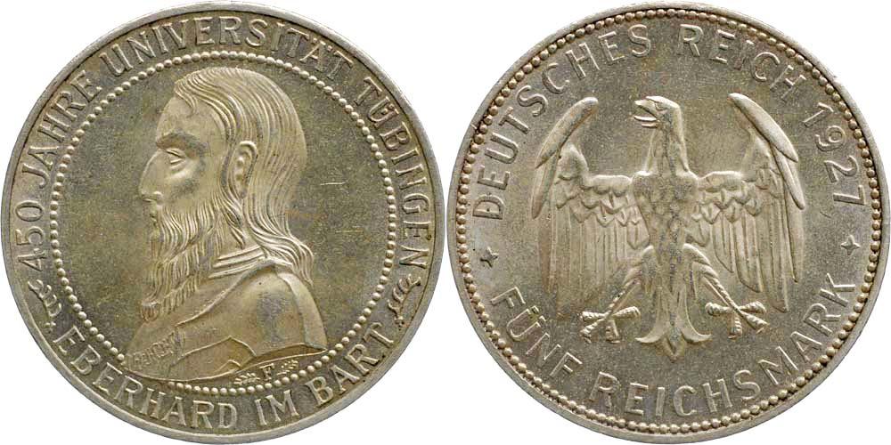 Lieferumfang:Deutschland : 5 Reichsmark Tübingen  1927 vz/Stgl.