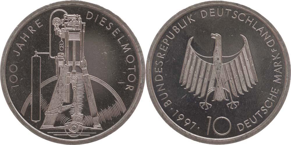 Lieferumfang:Deutschland : 10 DM 100 Jahre Dieselmotor  1997 vz/Stgl.