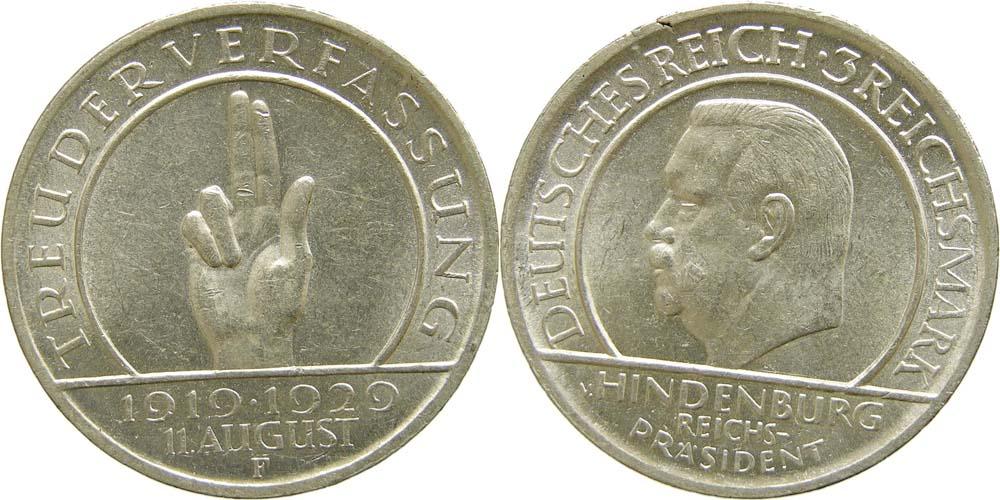 Lieferumfang:Deutschland : 3 Reichsmark Verfassung  1929 vz.