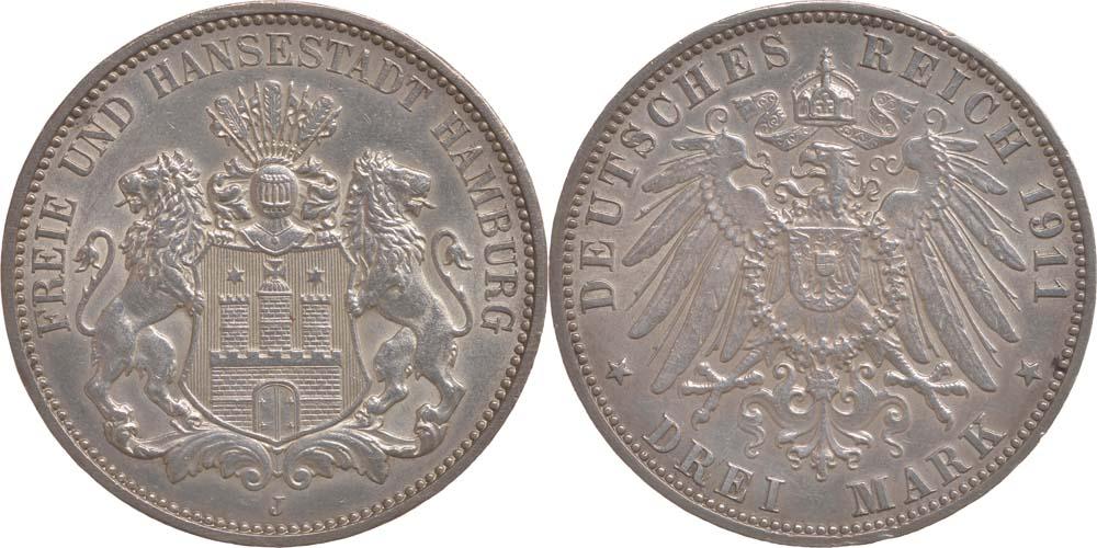 Lieferumfang:Deutschland : 3 Mark   1911 vz.