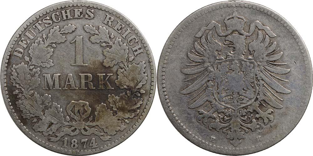 Übersicht:Deutschland : 1 Mark   1874 s/ss.