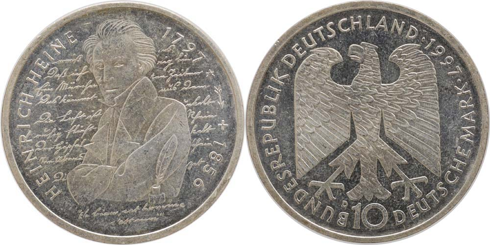 Deutschland : 10 DM Heinrich Heine  1997 vz/Stgl.