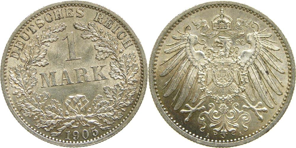 Lieferumfang:Deutschland : 1 Mark   1905 vz/Stgl.