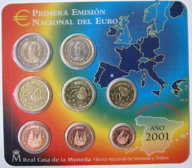 Lieferumfang:Spanien : 3,88 Euro Original Kursmünzensatz aus Spanien  2001 bfr KMS Spanien 2001