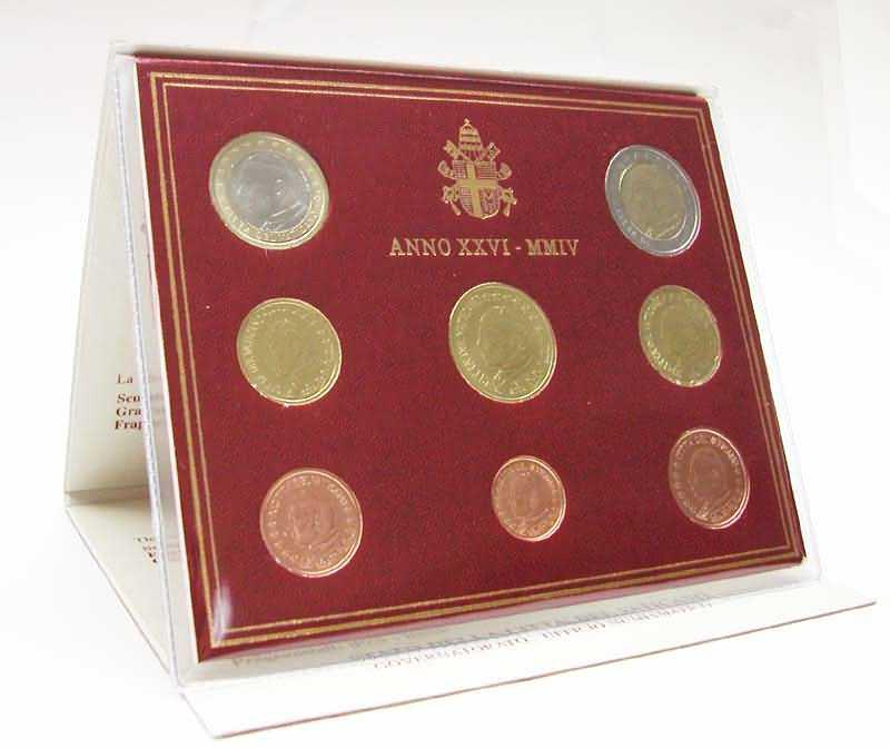Lieferumfang:Vatikan : 3,88 Euro original Kursmünzensatz aus dem Vatikan  2004 bfr KMS Vatikan 2004