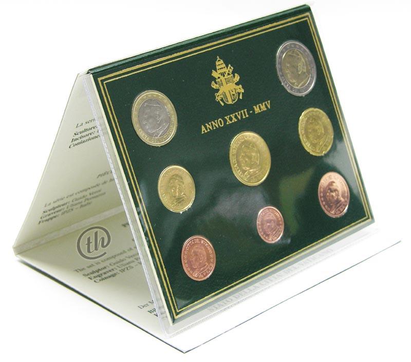 Lieferumfang:Vatikan : 3,88 Euro original Kursmünzensatz aus dem Vatikan  2005 bfr KMS Vatikan 2005