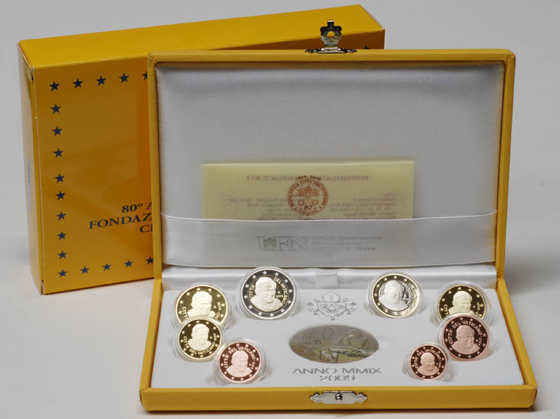 Lieferumfang:Vatikan : 3,88 Euro original Kursmünzensatz aus dem Vatikan  2009 PP KMS Vatikan 2009 PP Vatikan-Euro-Kursmünzensatz 2009