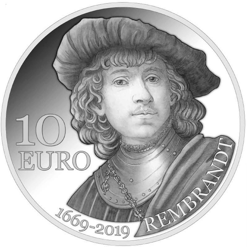 10 Euro Silbermünze, Proofversion, gewidmet dem 350. Todestag von Rembrandt.jpg
