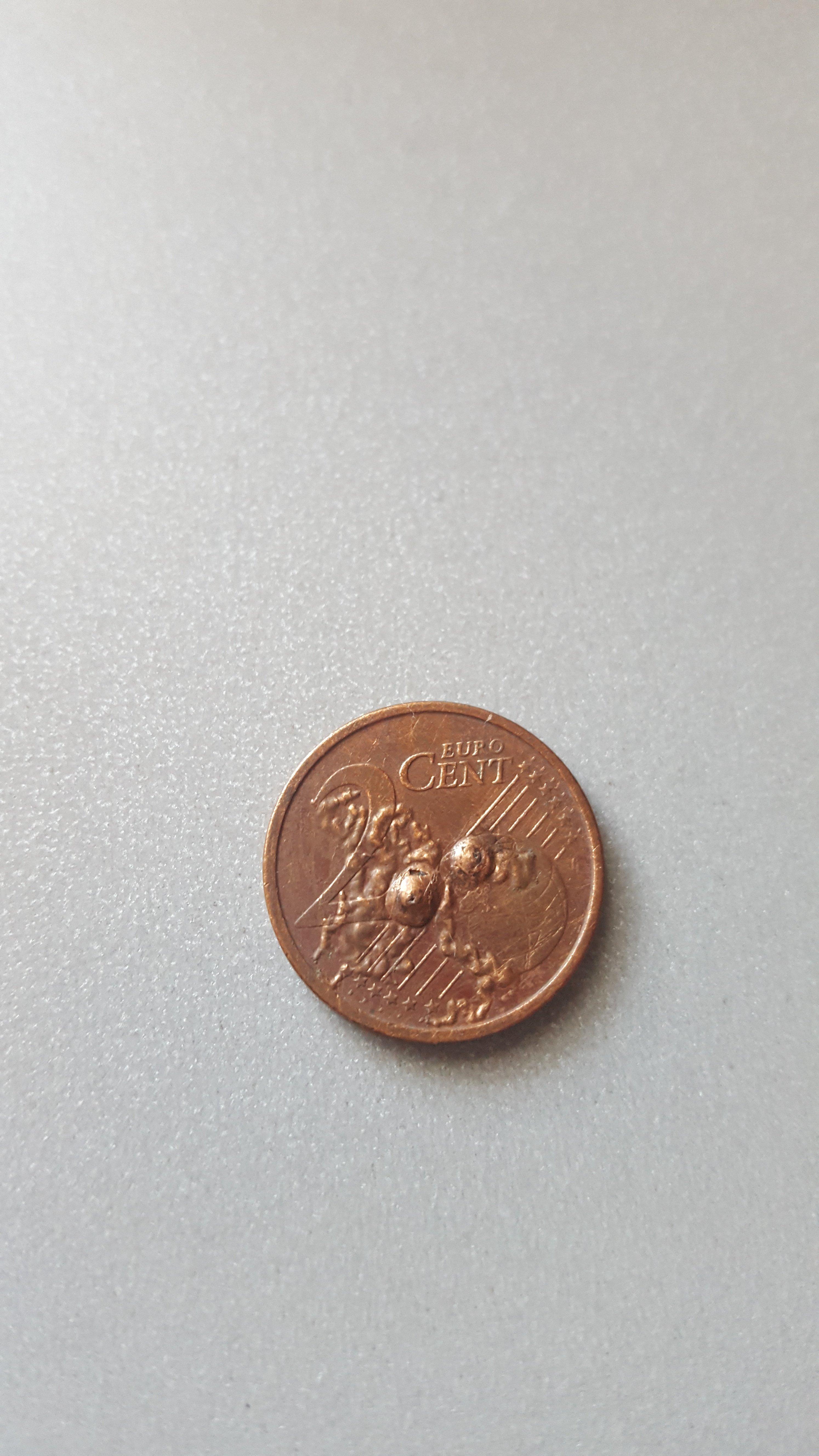 2 Cent Münze Mit Fehlprägung