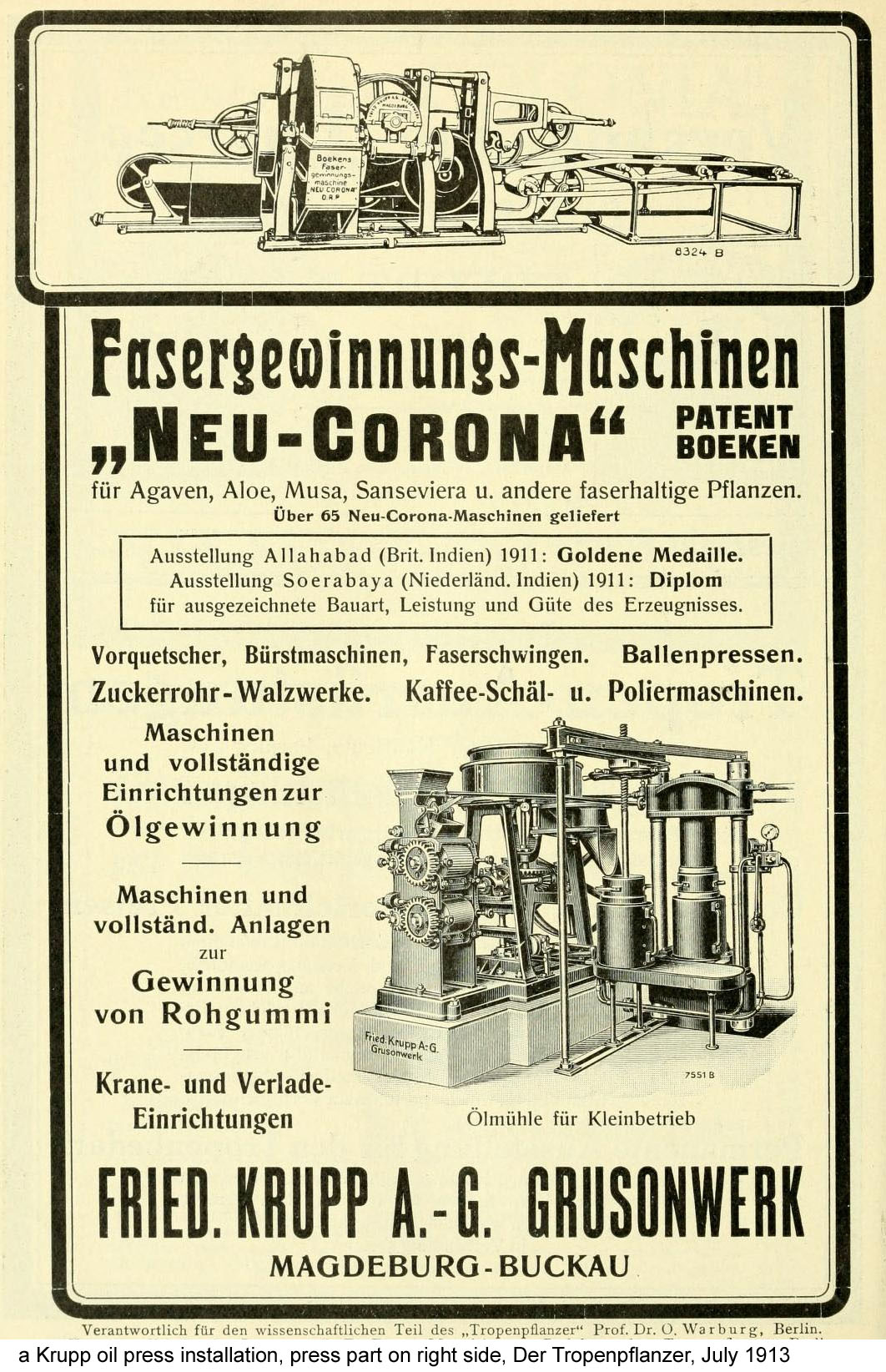 - 29 Ölpresse Krupp Der Tropenpflanzer July 1913.jpg