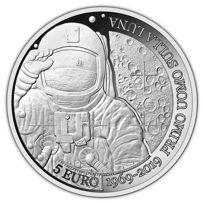 5 - Euro - Silbermünze, Proof - Version, gewidmet dem 50. Landung des ersten Mannes auf dem Mond.jpg