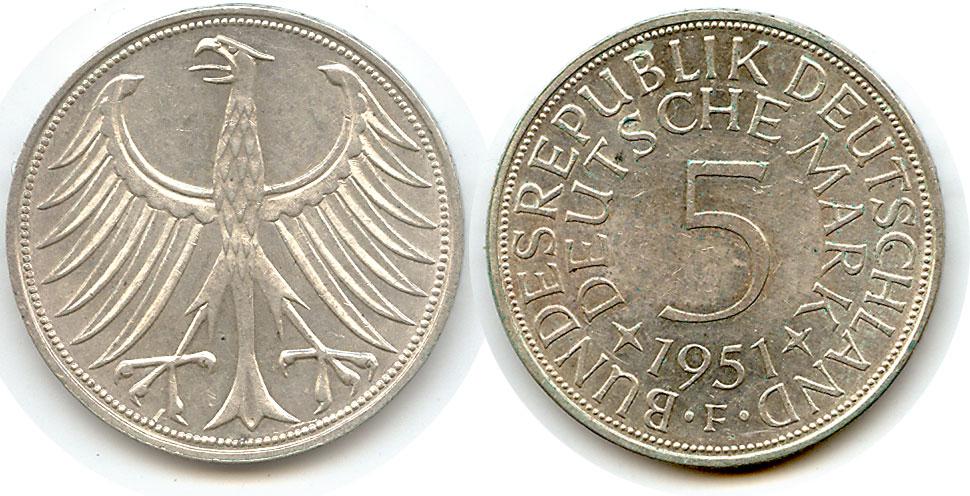 5 Mark 1951 F Etwas Besonderes