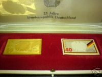 Goldprägung Einer Briefmarke 25 Jahre Bundesrepublik