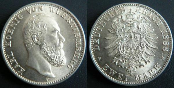 Wert 2 Mark Karl König Von Württemberg 1876