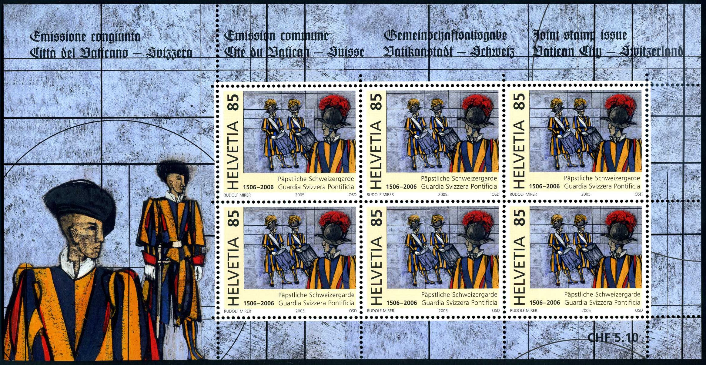 VA 021 2006 Schweizer Garde CH Block 85.jpg