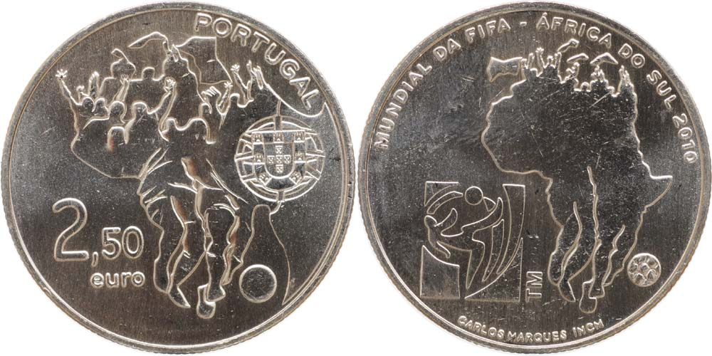 Portugal : 2,5 Euro Fu�ball  2010 Stgl.