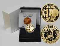 Belgien : 100 Euro 50. Hochzeitstag von König Albert II. und Donna Paola inkl. Originaletui und Zertifikat  2009 PP 100 Euro Belgien 2009