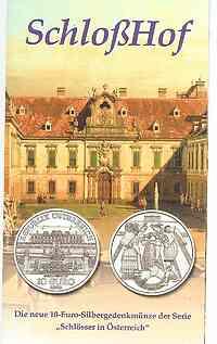 Österreich : 10 Euro Schloß Hof im Originalblister  2003 Stgl.