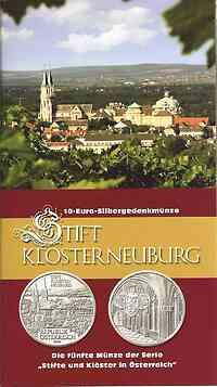 Österreich : 10 Euro Stift Klosterneuburg im Originalblister  2008 Stgl. 10 Euro Klosterneuburg Blister
