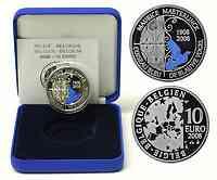 Belgien : 10 Euro Maeterlinck - Der Blaue Vogel inkl. Originaletui und Zertifikat  2008 PP 10 Euro Blauer Vogel