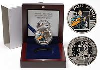 Belgien : 10 Euro Django Reinhardt farbig inkl. Originaletui und Zertifikat  2010 PP