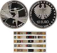 Deutschland : 10 Euro AAF Leichtathletik WM Berlin 2009 in Originalkapsel - Komplettsatz 5 Münzen  2009 PP 10 Euro Leichtathletik WM
