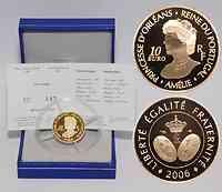 Frankreich : 10 Euro Amelie Königin von Portugal inkl. Originaletui und Zertifikat  2006 PP 10 Euro Amelie