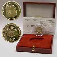 Monaco : 10 Euro inkl Originaletui und Zertifikat  2005 PP 10 Euro Monaco 2005;10 Euro Monaco Gold
