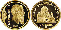 Belgien 12,5 Euro 2007 GOLD in Originalkapsel