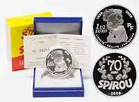 Frankreich : 1,5 Euro 70 Jahre Spirou inkl. Originaletui und Zertifikat  2008 PP 1,5 Euro Spirou