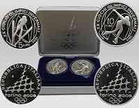 Italien : 15 Euro III. : 5 Euro Skispringen + 10 Euro Eisschnelllauf ,inkl. Originaletui und Zertifikat  2005 PP Olympiade Turin