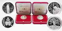 """Vatikan : 15 Euro Set: 5 Euro """"150 Jahre Dogma der Unbefleckten Empfängnis"""" + 10 Euro """"Weltfriedenstag 1. Januar 2004"""" inkl. Originaletuis und Zertifikaten  2004 PP"""