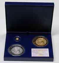 Spanien : 170 Euro Centen und Cincuentin Set aus : 20 + 50 + 100 Euro (Gold + Silber + Silber vergoldet) inkl. Originaletui und Zertifikat  2009 PP